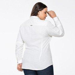 camisa social feminina plus size manga longa milene costas mini