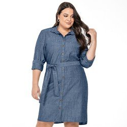 vestido chemise jeans plus size mullet maite frente mini