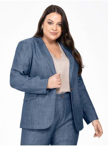 blazer jeans plus size feminino manga longa megan frente