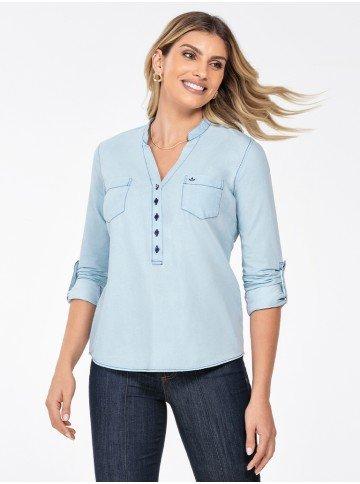 blusa jeans feminina decote v desiree frente