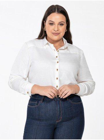 camisa social feminina plus size manga longa milene frente