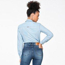 camisa jeans manga longa azul claro meire costas mini