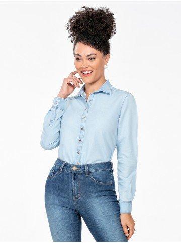 camisa jeans manga longa azul claro meire frente