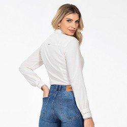 camisa feminina manga longa com renda madelyn costas