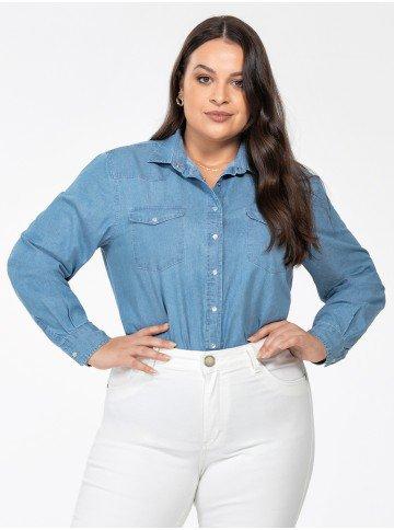 camisa jeans azul feminina plus size manga longa monica frente