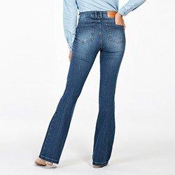 calca jeans flare cintura media mel costas mini