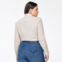 camisa feminina plus size de linho areia constanza costas mini