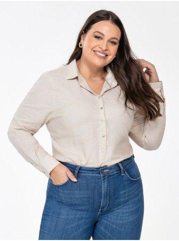 camisa feminina plus size de linho areia constanza frente