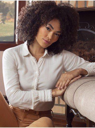camisa feminina com renda manga longa Madelyn