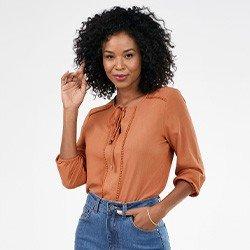 blusa feminina decote v com amarracao noemi mini frente