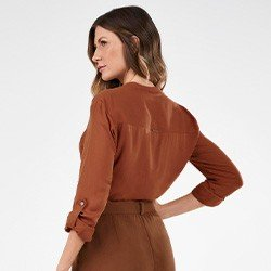 blusa feminina ferrugem ampla noelia mini costas
