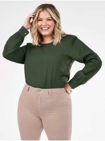 blusa verde militar plussize com manga bufante nadine lookbook frente