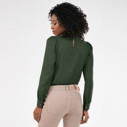 blusa verde militar com manga bufante nadine mini costas