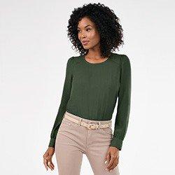 blusa verde militar com manga bufante nadine mini frente