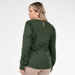 blusa verde militar plussize com manga bufante nadine mini costas