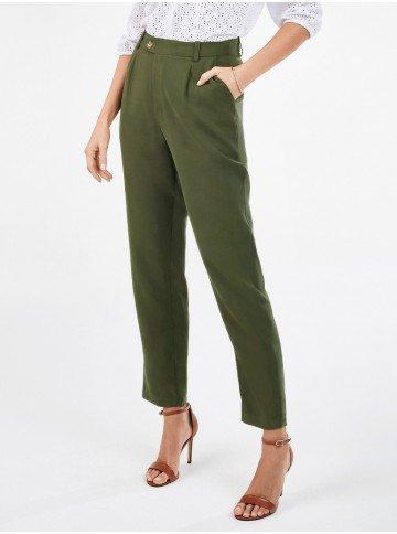 calca feminina cenoura verde militar nazira frente1