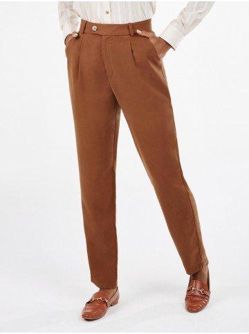 calca feminina cenoura marrom nagila frente