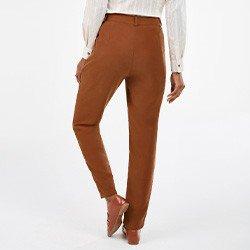 calca feminina cenoura marrom nagila mini costas