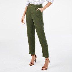 calca feminina cenoura verde militar nazira mini frente