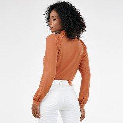 camisa feminina manga longa com renda natalie mini frente