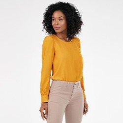 blusa feminina amarela com manga bufante nayele mini frente1