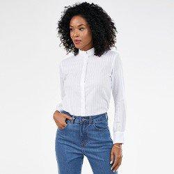 camisa feminina manga longa bufante off white naomi mini costas