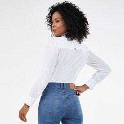 camisa feminina manga longa bufante off white naomi mini frente