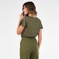 blusa feminina de poa verde militar nilda mini costas