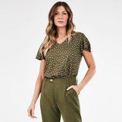 blusa feminina de poa verde militar nilda mini frente