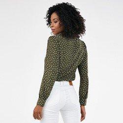 camisa feminina manga bufante de poa narcisa mini costas