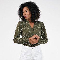 camisa feminina manga bufante de poa narcisa mini frente