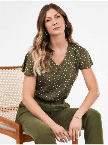 blusa feminina de poa verde militar nilda frente cadeira