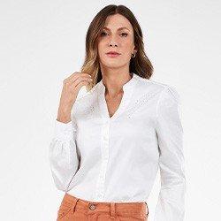 camisa feminina off white bordado richilieu nayara mini frente