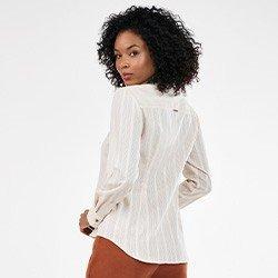 camisa feminina maquinetada manga longa bege neusa mini costas