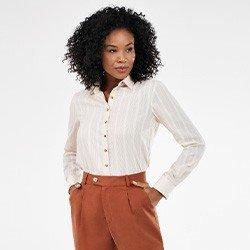 camisa feminina maquinetada manga longa bege neusa mini frente