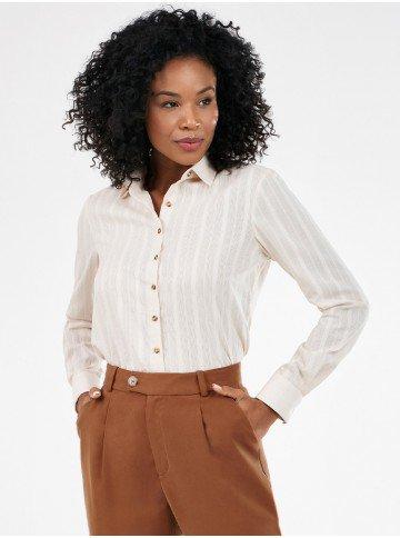 camisa feminina maquinetada listrada neusa frente