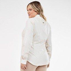 camisa feminina plus size bege com bordado floral nailde mini costas