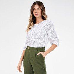 camisa feminina branca de laise nicoletta mini frente