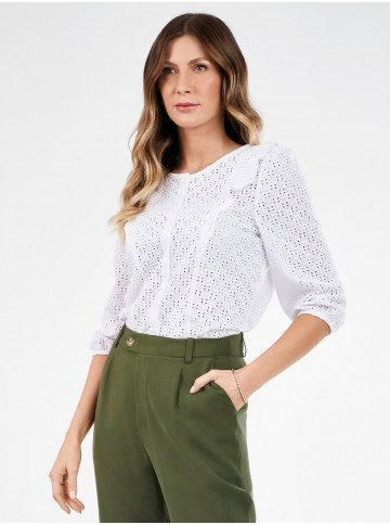 camisa feminina branca de laise nicoletta frente