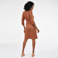 vestido chemise ferrugem manga longa naiane mini costas