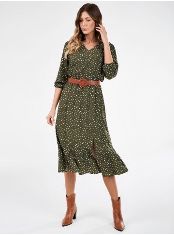 vestido de poa com fenda verde militar nazare lookbook frente