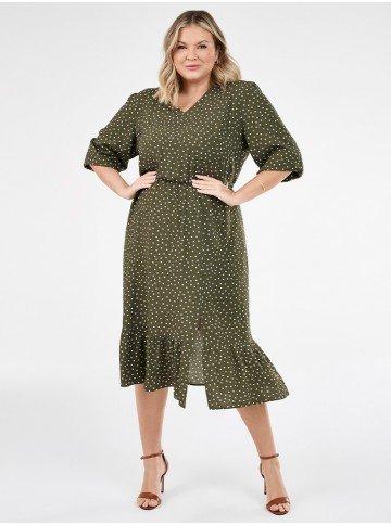 vestido de poa plus size com fenda verde militar nazare lookbook frente