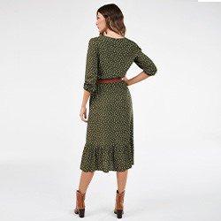 vestido de poa com fenda verde militar nazare mini costas