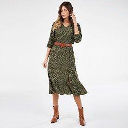 vestido de poa com fenda verde militar nazare mini frente
