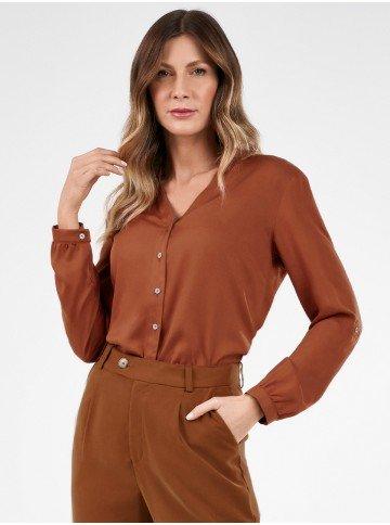 camisa feminina jeans com bordado neide frente