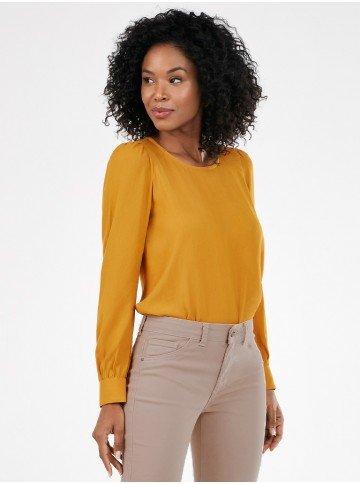 blusa feminina amarela com manga bufante nayelefrente