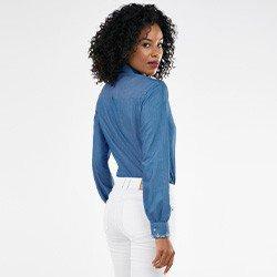camisa feminina jeans com bordado neide costas mini