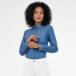 camisa feminina jeans com bordado neide frente mini