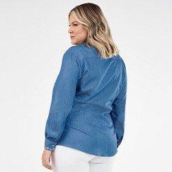 camisa feminina jeans plus size com bordado neide costas mini