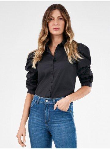 camisa manga curta preta feliciana frente